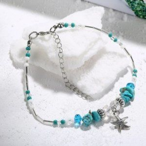 Jewelry - Blue & White Beaded anklet w/ Starfish Charm, New!